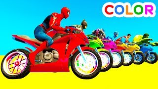 Video LEARN COLOR Motorcycles w Spiderman for kids and Superheroes cartoon for babies MP3, 3GP, MP4, WEBM, AVI, FLV Juli 2017