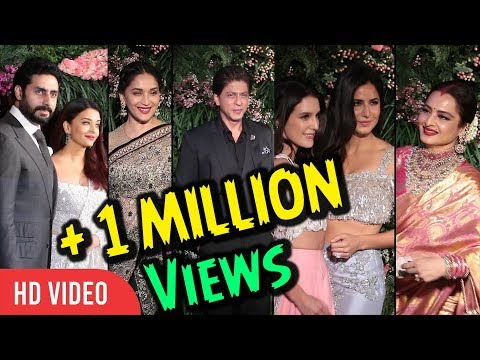 Bollywood Celebrities At Virat Kohli And Anushka Wedding Reception   SRK, Katrina, Varun, Rekha