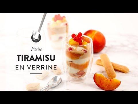 Recette facile et rapide : le Tiramisu à la pêche et caramel au beurre salé en verrine !