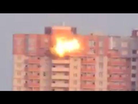 Луганск.Момент попадания снаряда в 25-этажный дом