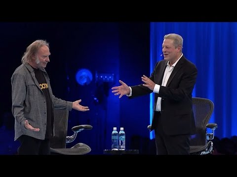 Dreamforce - Musician Neil Young interviews Vice President Al Gore during the Reimagine. Everything. Keynote at Dreamforce 2014.