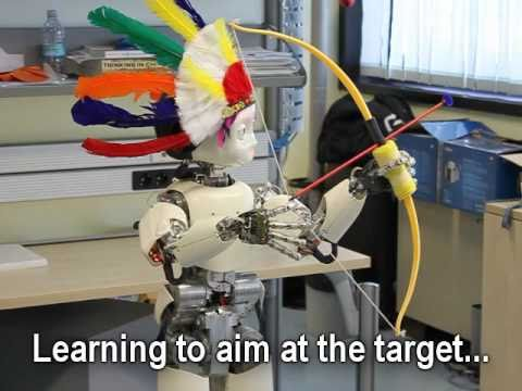 After being instructed how to hold the bow and release the arrow, the robot learns by itself to aim and shoot arrows at the target. The learning algorithm is called ARCHER (Augmented Reward Chained Regression).