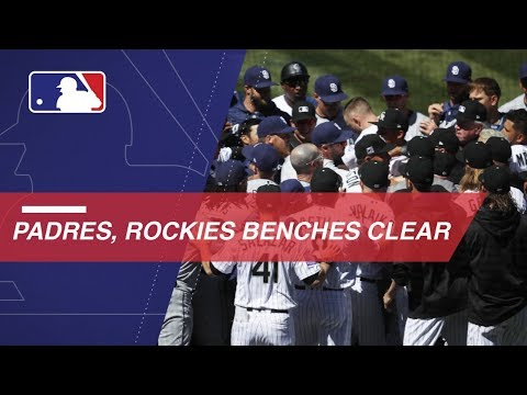 Benches clear between Padres and Rockies (видео)