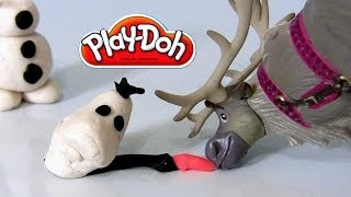 Play-Doh Disney Frozen OLAF Many Faces of Snowman Olaf Using Play Dough DIY Sven Reindeer - YouTube