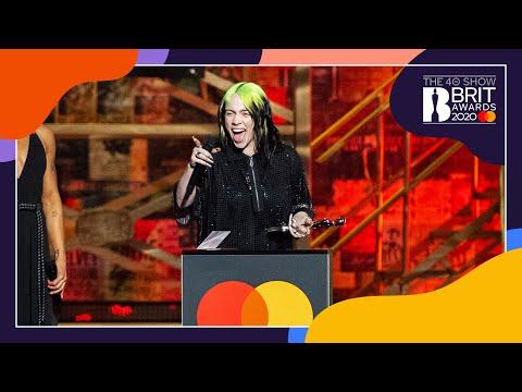 Billie Eilish wins International Female Solo Artist | The BRIT Awards 2020
