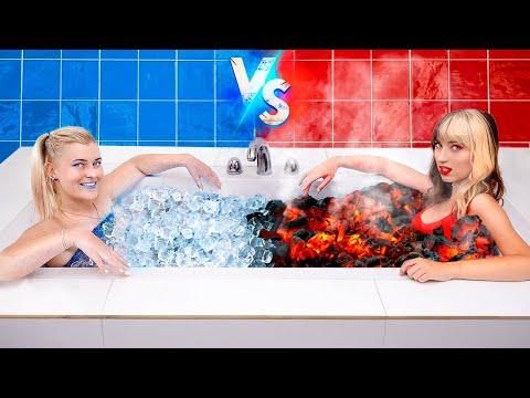 Hot vs Cold Challenge / Feuriges Mädchen Gegen Eisiges Mädchen