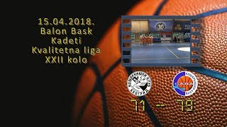 kk bask kk sava 71 79 (kadeti, 15 04 2018 ) košarkaški klub sava