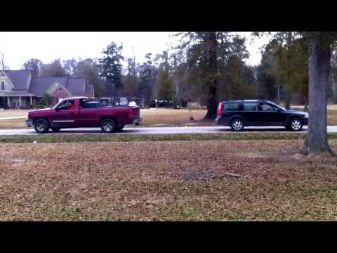 volvo v70 cx vs. chevy truck: tug of war