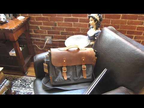 Plambag Crazy Horse Leather Canvas Messenger Bag Review and 15.6