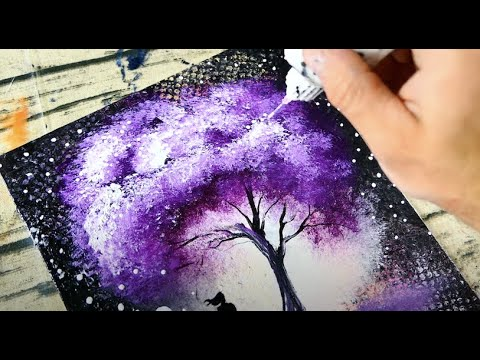Unique Painting Techniques | Bubble Wrap | Squeeze Bottle | Abstract Landscape Painting  | 033