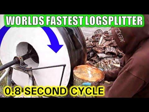 WORLDS FASTEST CHEAPEST SIMPLEST LOG SPLITTER SPLITTING WOOD!!!