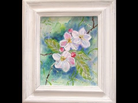 """Acrylmalerei für Anfänger Speed Painting """"Apfelblüten"""" """"apple blossoms"""""""