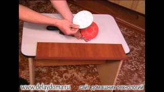 Обрезка ламинированной кромки с ДСП