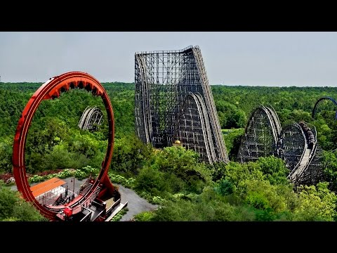 "six - In 2015, Six Flags Great Adventure introduces its thirteenth roller coaster, Looping Dragon. Twenty-four riders sitting in ""face-off"" seats rocket forward and backward pendulum style until..."