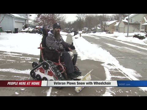 Veteran Plows Snow With Modified Wheelchair