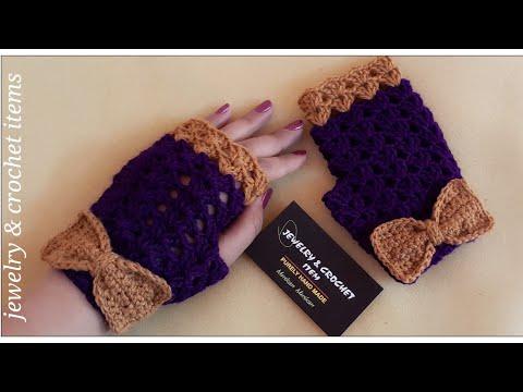 Easy crochet shell fingerless gloves tutorial 🧤