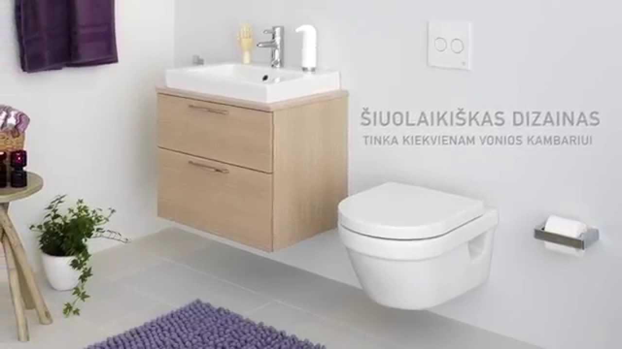 """Unitazas """"Estetic"""" 8300, su paslėptu S arba P formos nuotaku, """"Hygienic Flush"""" funkcija"""