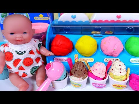Baby Doll Ice Cream Shop And Play Doh Ice Cream Toys 달님이 아이스크림 가게 - Wow Toy