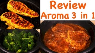 Hi Guys, today I'm reviewing the Aroma Housewares ASP-137 3-Quart/10-inch 3-in-1 Super Pot with Grill Plate. LINK to Aroma: http://amzn.to/2r1M1zj  Discount Code for $5 off:  15AROMA  The pot measures 13 inches across and 5 inches tall. It weighs about 3 pounds. You can use this pot as a grill, slow cooker or steamer. Aroma sent me this sample so I could tell you what I think of it. Let's go ahead and test this 3 in 1 Pot. This is the cool touch base. Put the pot into the base, it should snap in, the pot is cast aluminum and has a non-stick interior. This is the temperature control probe. Plug that into the port in the base. The dial should be off. The cord is inches long. Plug the cord into an outlet. First I'll try the grill function. Before using, wash the pot, base and lid with warm, soapy water and dry. Rub the surface with a little oil. There's no preheating, you can put the food in the pot and let it heat up. Here are two chicken breasts. I've marinated them for 15 minutes in olive oil, lemon juice, salt and pepper. Put the chicken breasts on the grill. To grill, we can set the dial to 375 degrees Fahrenheit. The indicator light will come on. The light turns off when the pot reaches the set temperature. You can cover the pot or not when grilling. Depends on what you're cooking and how fast you want it done. Use the glass lid when you're simmering, steaming or slow cooking. Since the surface is non-stick, don't use metal utensils as they could scratch the surface. When you're finished cooking, turn the dial to off and unplug the unit. Remove the probe. When it's cool, you can put all the parts in the dishwasher or wash with warm soapy water. Dry all the parts before using. Next, we'll try the steam function. Put the food on a metal rack, a heat-safe dish or directly on the grill. Pour one cup of water. This is 3 cups of fresh broccoli cut up. Put the lid on. Turn the dial to high setting. The instruction manual has a guide with cooking times for food. There are a few recipes in the manual. A quick start guide is also included.Simmer - pork chops with onions. If you're using this pot to slow cook for hours, it's best to use a lower temperature. The Aroma worked very well and is an inexpensive unit. If you want to try this pot, please click on the link above. I hope you found this review helpful. Please subscribe and I'll see you next time. Thanks for watching :)