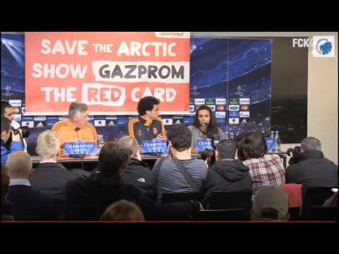 press - http://savethearctic.org Greenpeace show Gazprom the red card at a Real Madrid press conference in Copenhagen, Denmark. The Russian oil giant wants to risk t...