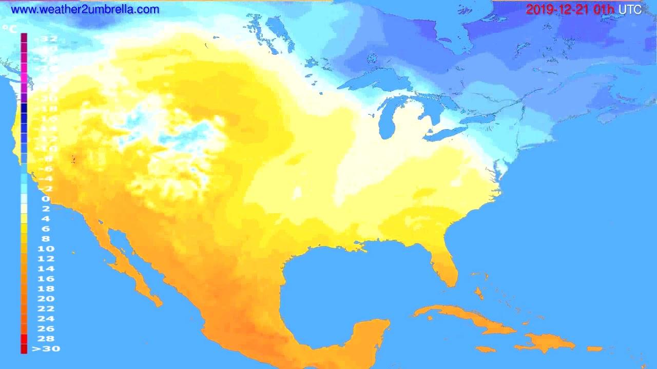 Temperature forecast USA & Canada // modelrun: 12h UTC 2019-12-19