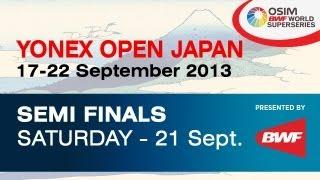 Event: Yonex Open Japan 2013 -- Semi Finals Date: 17 September 2013 - 22 September 2013 Venue: Tokyo Metropolitan Gymnasium, Tokyo, Japan Players: Lee Chong ...