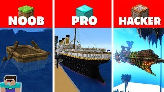 Minecraft NOOB vs PRO vs HACKER : SHIP BASE CHALLENGE in minecraft / Animation