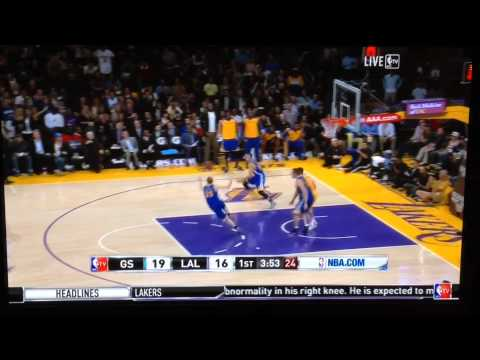 NBA player misses dunk, gets ball back and hits a three. Struggling Lakers' color commentator dejectedly predicts the play.