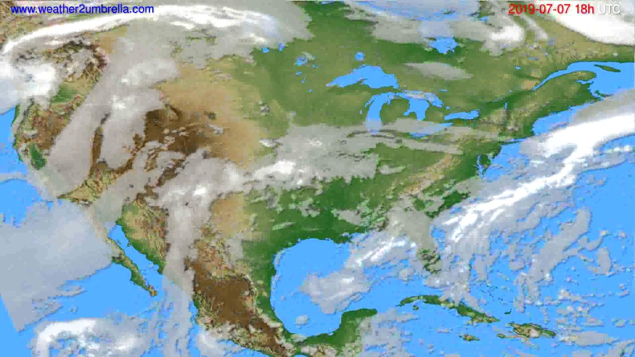 Cloud forecast USA & Canada // modelrun: 12h UTC 2019-07-05