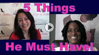 Want the right man? Find out the 5 things he must have in order for you to be in a relationship with him.Tinzley Bradford tells you how attract a man over 40.Get dating tips for women over 40 & dating advice for women from a top dating coach for women over 40 & 50.Suzanne Oshima, Matchmaker & Dating Coach at Dream Bachelor & Bachelorette & the Founder of Single in Stilettos (http://www.singleinstilettos.com) interviews Tinzley Bradford, Dating Coach.3 Secrets Guaranteed to Attract Any Man!Get the Free Report Now!http://www.singleinstilettos.com/m-3-secrets-attract-man-ytStay tuned for the next Single in Stilettos Weekly Show and get the best dating advice & dating tips!Dating advice for women over 40. Dating advice for women over 50.Get the best dating advice for women over 40 from Tinzley Bradford, Dating Coach.Dating Coach for women in their 40's Dating Coach for women in their 50'sSuzanne Oshima is a Matchmaker & Dating Coach at Dream Bachelor & Bachelorette: http://www.dreambachelor.comSponsored by CupidsPulse http://www.cupidspulse.com