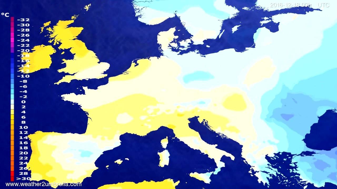 Temperature forecast Europe 2016-12-15