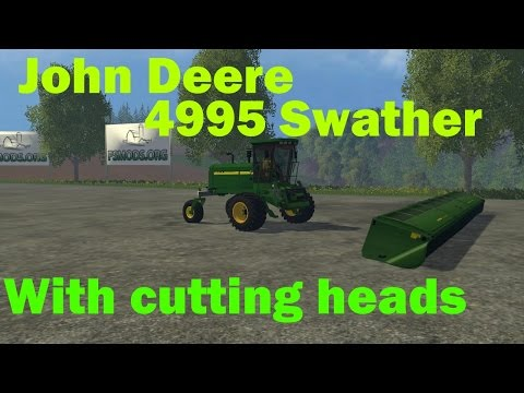John Deere 4995 Swather + Cutting Heads v1.0