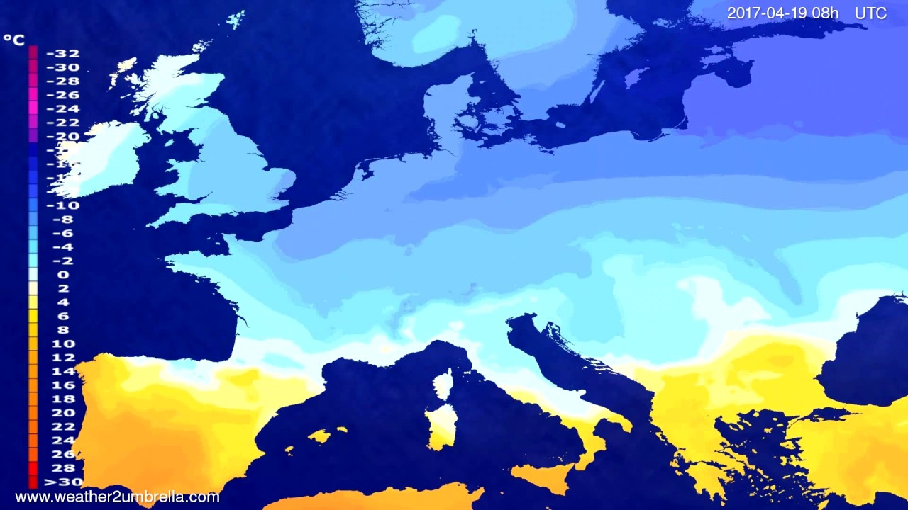 Temperature forecast Europe 2017-04-16