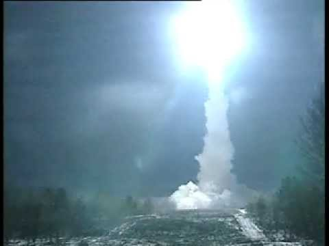 Topol M missile - http://SaturnVibes.com A Russian Topol-M ICBM (converted to a satelite launcher)launch . Amazing Video !! At first it seems nothing hapens, but then after a ...