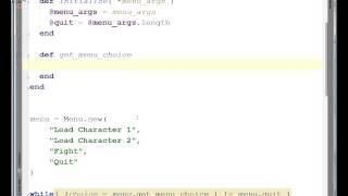 Ruby II - Menu Class - Lecture 16