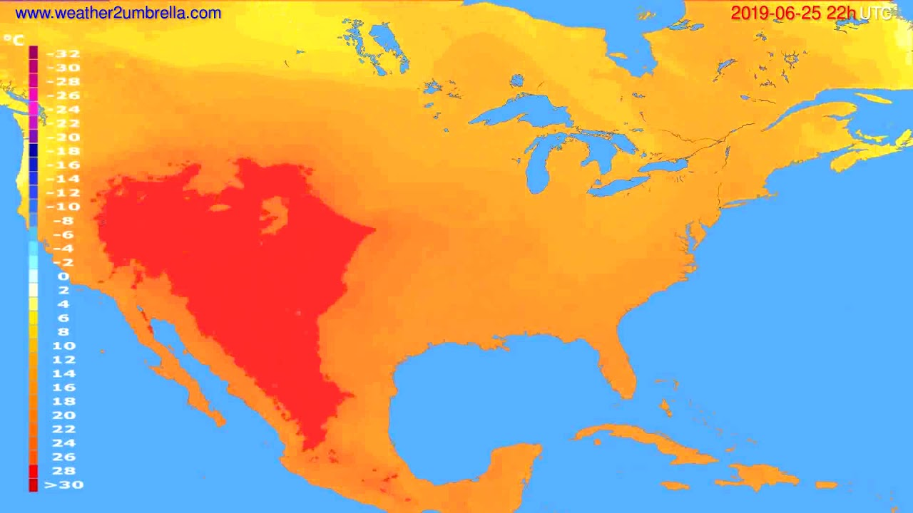 Temperature forecast USA & Canada // modelrun: 00h UTC 2019-06-23