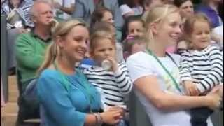 Roger Federer's Twin Daughters Myla Rose and Charlene Riva at Wimbledon 2012 quarterfinals.