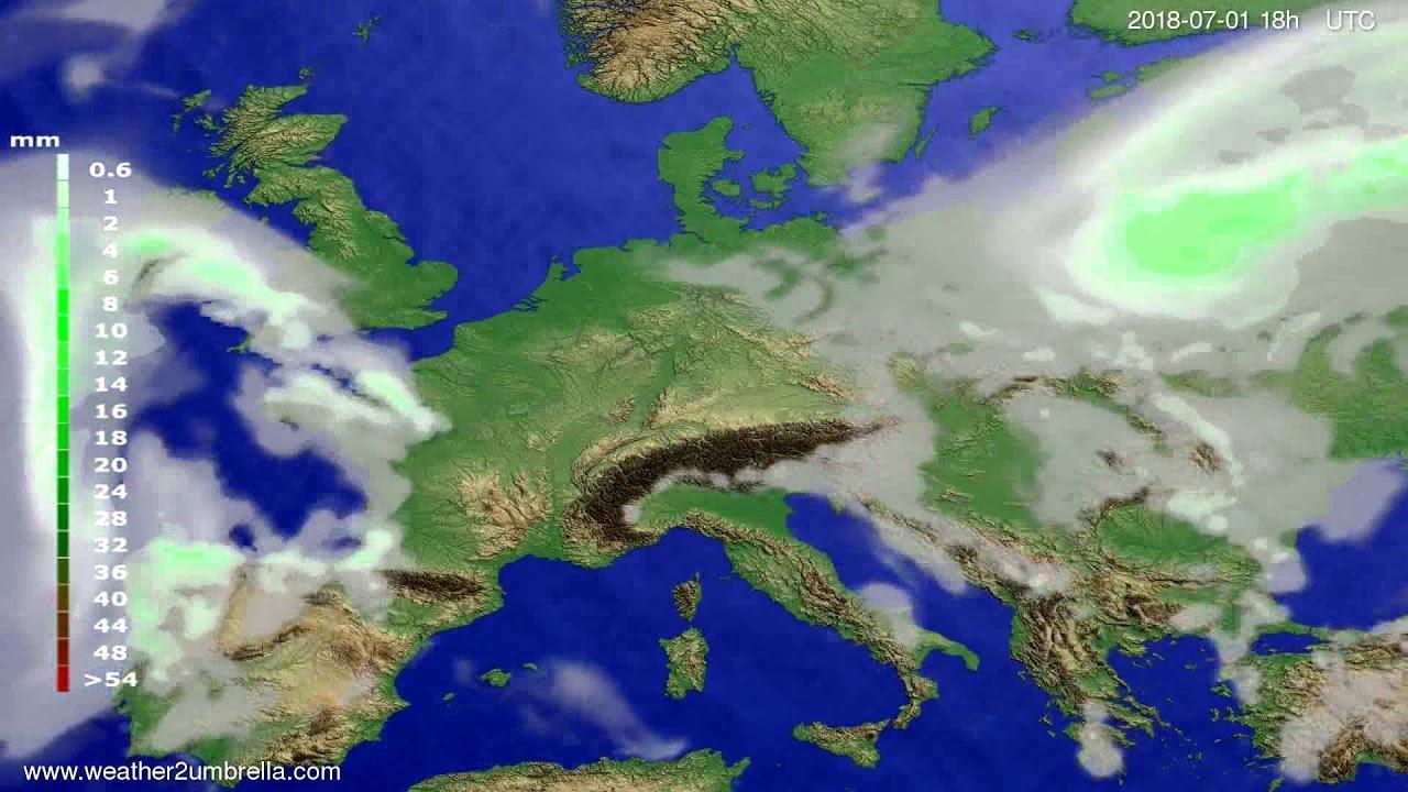 Precipitation forecast Europe 2018-06-28