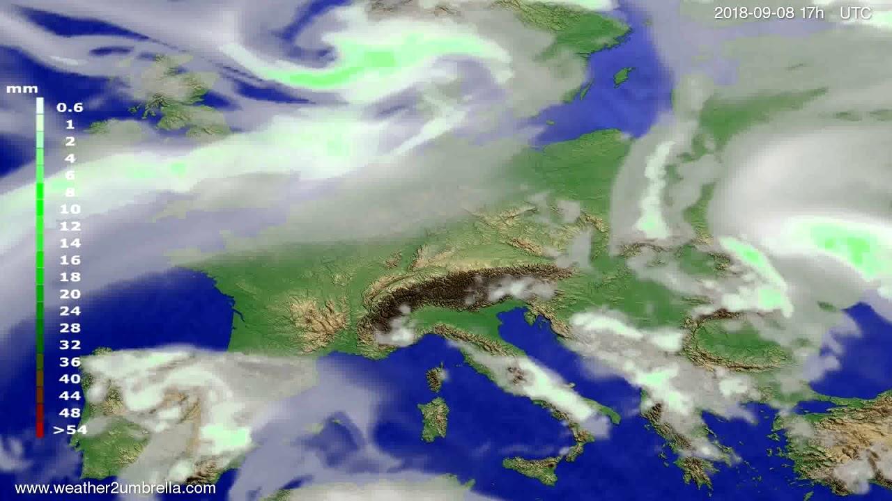 Precipitation forecast Europe 2018-09-06