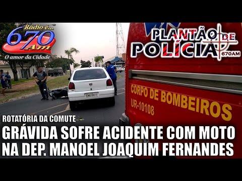 Grávida na garupa de moto sofre acidente em Garça