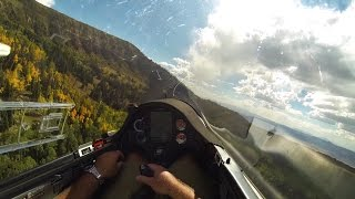 Enjoy this full glider flight from take off to to landing from Heber Utah and flying over the amazing Wasatch Mountain range and plateau near Salt Lake City.  The leaves are starting to change colors and I take advantage of the favorable westerly winds and play down just a few feet off the the tops of the mountain ridges and in the little valleys. This video gives a unique perspective of what it is like to fly a glider (sailplane) in the Rocky Mountains.   The glider is an ASW27B and the camera is a GoPro Hero 3. Thanks for watching and I always enjoy your comments and questions!  Bruno - B4Here is a link to the gps trace for this flight:  http://www.onlinecontest.org/olc-2.0/gliding/flightinfo.html?dsId=5425266