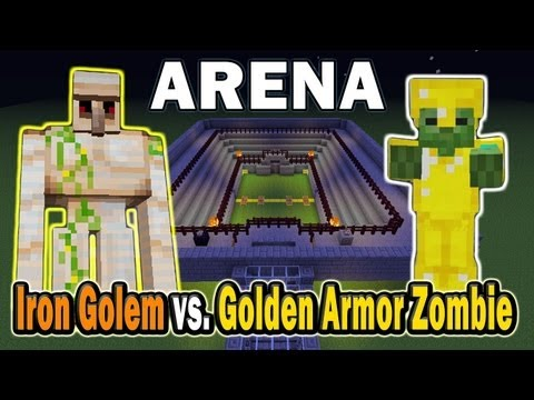 Minecraft Arena Battle Iron Golem vs. Golden Armor Zombie