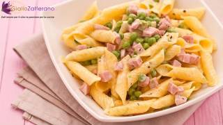 Pasta with ham, peas and cream - quick recipe