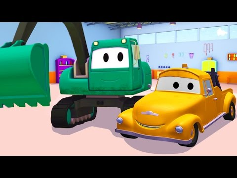 Tom The Tow Truck and the Excavator in Car City | Trucks cartoon for kids