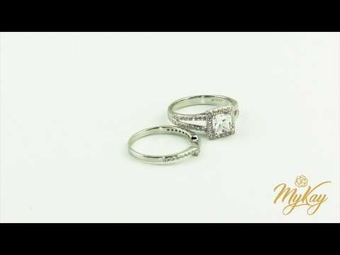 MyKay Beautiful Halo Princess Cut SONA Diamond Bridal Ring Set in Sterling Silver