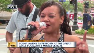 """Today's Concert at the Qube performer is Tosha Owens.Every Friday we feature a performance from a local artist on 7 Actions News on TV20 Detroit during the 8 am show and this week the concert came a couple days earlier. Detroit Music Award winner Tosha Owens performers her original song """"Detroit Strong"""" with her band. You can watch her perform live July 30 at the Great Lakes Food, Art and Music Festival at 6:30 p.m. at Campus Martius Park."""