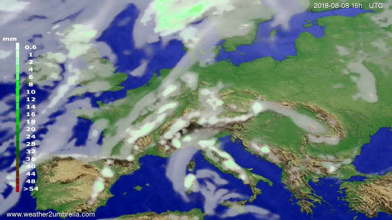 Precipitation forecast Europe 2018-08-05