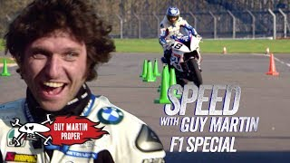 Video Guy's bike VS Red Bull F1 Car - the Slalom test | Guy Martin Proper MP3, 3GP, MP4, WEBM, AVI, FLV Agustus 2019