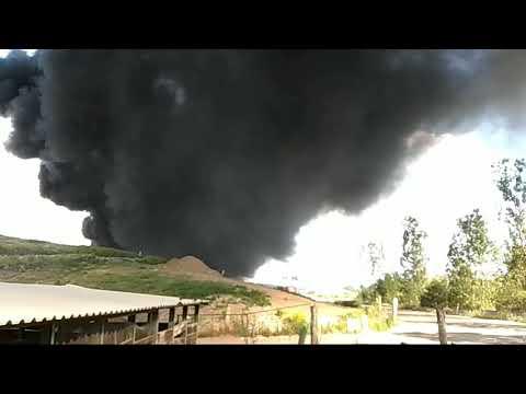 Wideo: Pożar na miejskim składowisku odpadów w  Lubinie 1/2