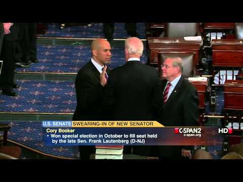 Booker - From C-SPAN2's LIVE coverage, Cory Booker is sworn into the U.S. Senate by Vice President Joe Biden. Booker won a special election in October to fill the sea...